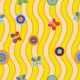 Sömlös modell med färgrika rundor och fjärilar på gul bakgrund med vågor stock illustrationer