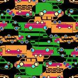 Sömlös modell med färgrika små bilar Royaltyfria Bilder
