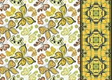 Sömlös modell med färgrika tappningfjärilar och blommor Bakgrund för handattraktionvektor royaltyfri illustrationer