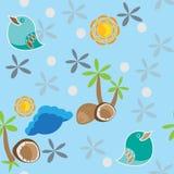 Sömlös modell med fågeln, palmträdet och kokosnötter Arkivfoton