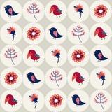 Sömlös modell med fåglar och blommor i cirklar Royaltyfri Fotografi