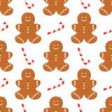 Sömlös modell med för pepparkakaman för traditionell jul hemlagade kakor och godisen på vit bakgrund Vektormatbegrepp stock illustrationer
