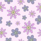 Sömlös modell med försiktiga hand-drog blommor av pastellfärgade färger stock illustrationer