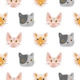 Sömlös modell med förtjusande kattungar vektor illustrationer