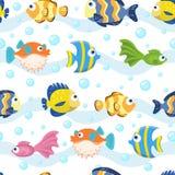 Sömlös modell med fisken - vektorillustration vektor illustrationer