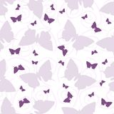 Sömlös modell med fjärilar och krullning Arkivbild