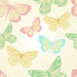 Sömlös modell med fjärilar. Vektor illustration/EPS 10 Arkivbilder