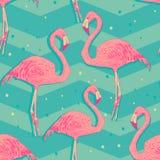Sömlös modell med flamingofåglar stock illustrationer