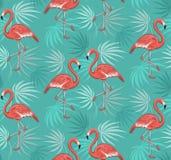 Sömlös modell med flamingofåglar och tropiska sidor Fotografering för Bildbyråer
