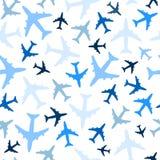 Sömlös modell med flygplan på vit bakgrund vektor Arkivbild