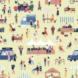 Sömlös modell med folk som köper och säljer gods på den säsongsbetonade marknaden för gatamat Bakgrund med män och kvinnor royaltyfri illustrationer