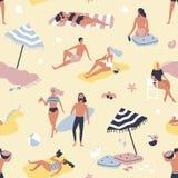 Sömlös modell med folk som kopplar av på stranden och att solbada för sand Bakgrund med män och kvinnor på semester på kusten royaltyfri illustrationer