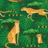 Sömlös modell med geparder, leoparder i djungeln Upprepade exotiska lösa katter i bakgrunden av savannahen stock illustrationer