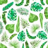 Sömlös modell med gröna tropiska sidor stock illustrationer