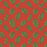 Sömlös modell med gröna tropiska teckningar för blad för växt Monstera för schweizisk ost på ljus röd bakgrund stock illustrationer
