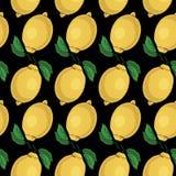 Sömlös modell med gula citroner - illustration Royaltyfri Fotografi
