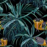 Sömlös modell med gula ormar och blåa tropiska växter vektor illustrationer