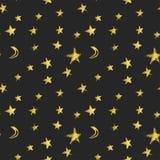 Sömlös modell med guld- hand drog stjärnor och halvmånformigmånar också vektor för coreldrawillustration royaltyfri illustrationer