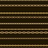 Sömlös modell med guld- kedjor på en svart bakgrund vektor royaltyfri illustrationer