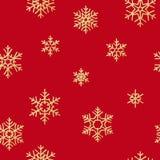 Sömlös modell med guld- snöflingor på röd bakgrund för ferier för jul eller för nytt år 10 eps vektor illustrationer