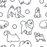 Sömlös modell med gullig hundkapplöpning stock illustrationer