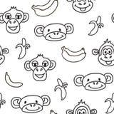 Sömlös modell med gulliga framsidor av apor och bananer Lurar bakgrund Royaltyfri Bild