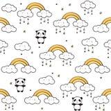 Sömlös modell med gulliga pandor, guld- regnbågar, roliga moln stock illustrationer