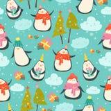 Sömlös modell med gulliga pingvin stock illustrationer