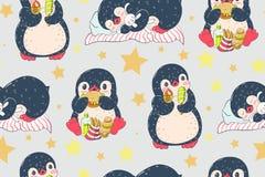 Sömlös modell med gulliga pingvin Fotografering för Bildbyråer