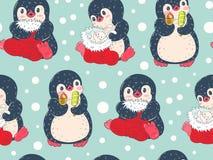 Sömlös modell med gulliga pingvin Royaltyfria Bilder