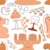 Sömlös modell med gulliga schackstycken stock illustrationer