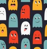 Sömlös modell med gulliga spökar Skrämmer bakgrund Rolig textur för allhelgonaafton arkivfoto