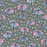Sömlös modell med gummistöveler och paraplyet Vektor Illustrationer