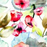 Sömlös modell med härliga blommor Arkivfoto