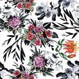 Sömlös modell med härliga blommor, vattenfärgmålning royaltyfri illustrationer