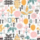 Sömlös modell med hästen, blommor och hand-drog beståndsdelar Textur för barn` s Utmärkt för tyg, textilvektor stock illustrationer
