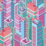 Sömlös modell med högväxta isometriska stadsbyggnader, skyskrapor eller torn av den moderna megalopolisen Bakgrund med staden vektor illustrationer