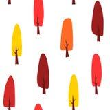 Sömlös modell med höstfärgträd vektor illustrationer