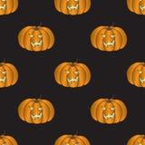 Sömlös modell med halloween pumpa Arkivfoton