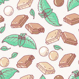 Sömlös modell med hand dragen choklad- och mintkaramellanstrykning vektor illustrationer