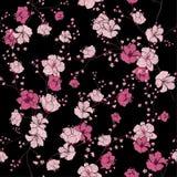 Sömlös modell med hand dragen dekorativ flowe för körsbärsröd blomning Arkivfoton