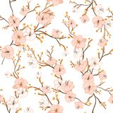 Sömlös modell med hand dragen dekorativ flowe för körsbärsröd blomning royaltyfri illustrationer