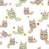 Sömlös modell med hand drog katter som spelar med clews på vit bakgrund Arkivfoton