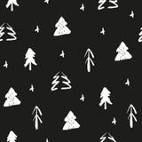 Sömlös modell med handattraktiongran-träd Sömlös prydnad för jul royaltyfri illustrationer