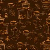 Sömlös modell med handdrawn kaffekoppar, bönor Arkivfoto