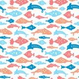 Sömlös modell med havsfiskar royaltyfri illustrationer