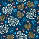 Sömlös modell med hjärtor för din design Vektor Illustrationer