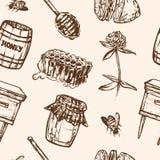 Sömlös modell med honungbeståndsdelar Skorra, skeda, klibba, celler, växt av släktet Trifolium, bikupan, biet, citronen, kagge vektor illustrationer