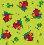 Sömlös modell med hus och träd stock illustrationer
