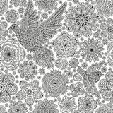 Sömlös modell med idérika fåglar och blommor Dekorativ duva och sparv Arkivbilder